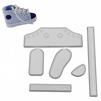 DIY 6pcs/set Plastic Fondant Life Size Baby High Cut Sneaker Baking Cutter Cake Mold Bebe Shoe Decorating Tools for Cakes
