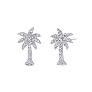 14K White Gold 1/3 ct. Diamond Palm Tree Earrings by Katarina
