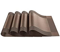 SiCoHome Placemats PVC Dining Room Placemats for Table Heat Insulation Stain-resistant Kitchen Placemat Simple Style Plastic Placemats Vinyl Placemats,Set of 4 (Diagonal Brown)