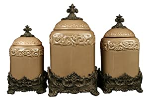 Drake Design 3401 Large Canister (3-Piece Set), Taupe, 13.5,12,10 Inch
