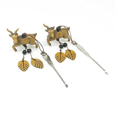 Beads Leaves Goat Pendants Steel Ear Pick Earwax Removal Cleaner Tool 2 Pcs