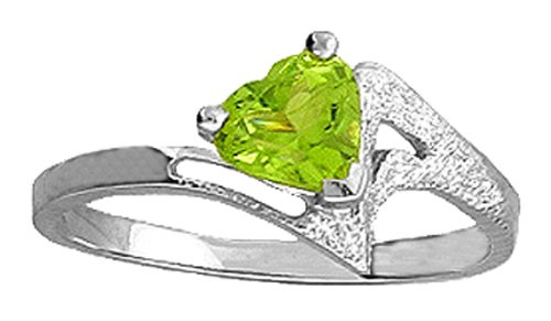 .925 Sterling Silver Promise Ring with Genuine Heart Peridot