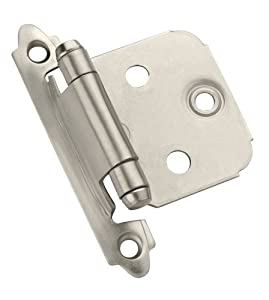 Amerock BP3429-G10 Self-Closing Face Mount Variable Overlay Hinge, Satin Nickel, Set of 2