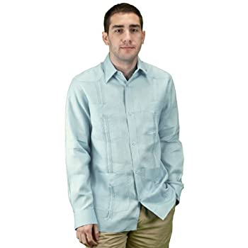 Mens long sleeve guayabera shirt, light blue.