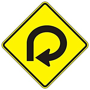 MUTCD W1-15R Right 270 Degree Loop Sign, 3M Reflective Sheeting, Highest Gauge Aluminum,Laminated, UV Protected, Made in U.S.A