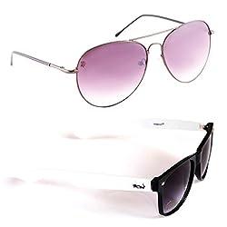 Elligator Stylish Spartiate Purple And White Wayfarer Sunglasses Combo ( Set of 2 )