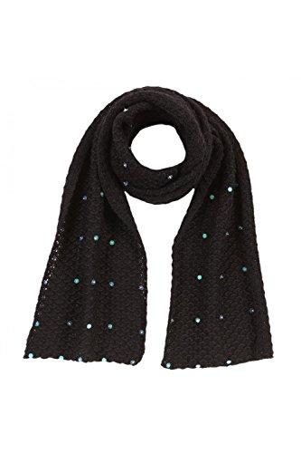 ANTA Q'ULQI - Sciarpa a maglia con lustrini 100% in lana di baby alpaca - nero, Taglia unica