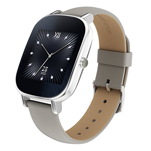 "ASUS ZenWatch 2 Android Wear Smartwatch - 1.45"", Silver case with Beige leather band"