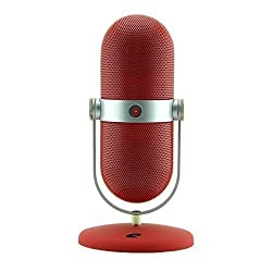 iQualTech Wireless Bluetooth Speaker with built in Mic and Microphone Style Stand (Red)