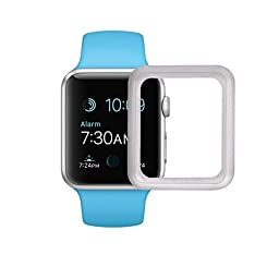 Apple Watch Series 2/Series 1/Edition/Nike+ Screen Protector,TitanFan 9H High-sensitive Ultra-Thin 0.2mm Tempered Glass with Full Cover Edge Screen Protector for Apple Watch 38mm (Full Cover Screen Protector - 38mm Silver)