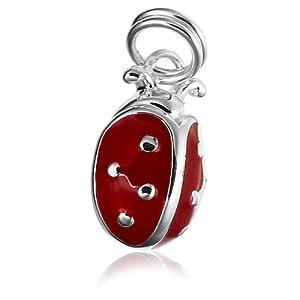 sterling silver epoxy ladybug charm