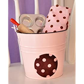 Lil inch Baker Bucket -- Pink & Chocolate Polka Dot