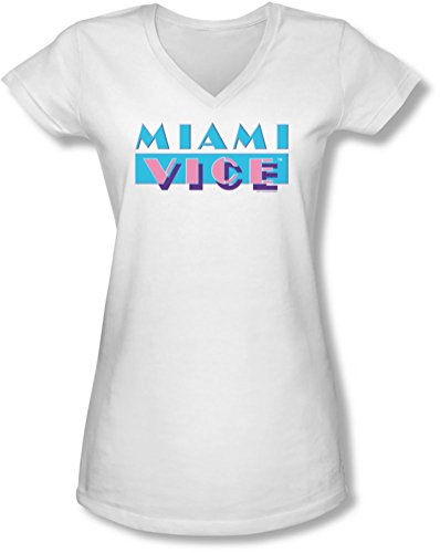 Officially Licensed Miami Vice Juniors Fit V-Neck T-Shirt - S to XXL