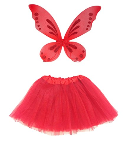 Rush Dance RED Ballerina Princess Fairy Costume Bundle Set - Pixie Wings & Tutu