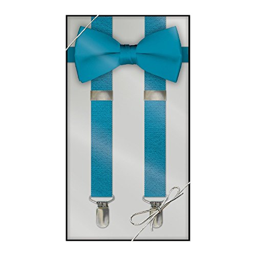 suspender amp bow tie set kids turquoise apparel