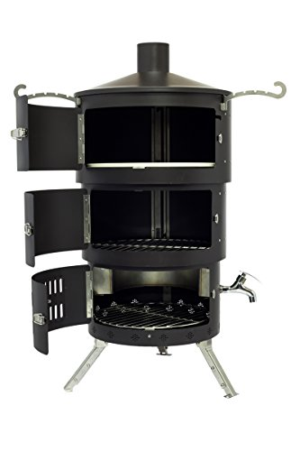 Portable Bbq/pizza Oven/ Smoker / Fire Pit /chiminea Aquaforno Af2 Black