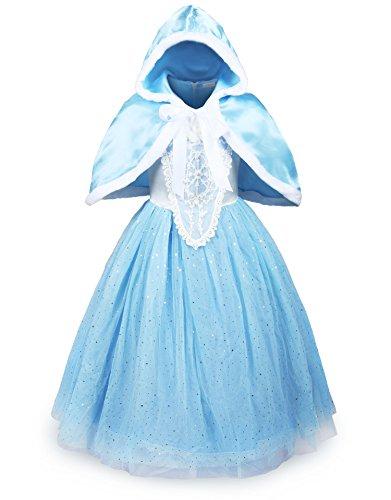ReliBeauty Girls Sparkle Sequin Princess Dress Costume (5-6, Light Blue)