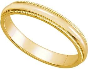 Womens 14K Yellow Gold Milgrain Wedding Band 3MM