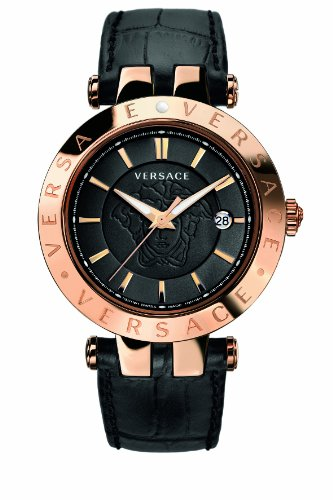 Versace V-Race Unisex Quartz Watch with Black Dial Analogue Display and Black Leather Strap 23Q80D008 S009