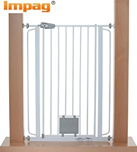 Impag® Extrahoch 105 cm Türschutzgitter Hundeschutzgitter 75 - 149 cm mit Katzenklappe zum Klemmen Ohne Bohren Nala + 2 + 2