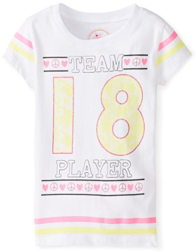 Dream Star Little Girls' Short Sleeve Team 18 Glitter Tee