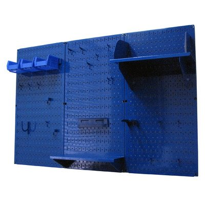 Wall Control 4ft Metal Pegboard Standard Tool Storage Kit - Blue Toolboard & Blue Accessories
