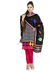 Utsav Fashion Women's Black Cotton Readymade Churidar Kameez-Medium - B015UDQB18