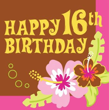 Happy 16th Aloha Birthday Luncheon Napkin (16 per package)