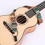 Trend Mart ウクレレ用 ギタレレ ミニギター 首かけ ネック ストラップ フック付き エスニック 民族柄