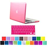 """HDE Frosted Matte Rubber Coated Hard Shell Clip Snap-On Case Cover for Macbook Pro 13"""" (A1278) + Matching Keyboard Skin (Pink)"""