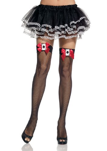 Queen of Hearts Fishnet Thigh Highs w/Red Bow & Cards 9083