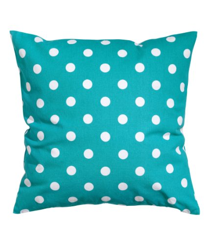 """Polka Dots Accent Decorative 100% Cotton Canvas Throw Pillow Cover Cushion 20 X 20"""" Reversible Turquoise And White front-766223"""