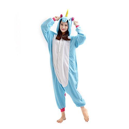 2015 New Blue Unicorn Kigurumi Pigiama Unisex Adulto Cosplay Costume Animale Pigiama (M(Hauteur:162cm-171cm))