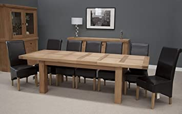 Bordeaux Oak Large Extending Dining Table 10/12 Seater