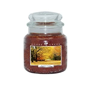Goose Creek 16-Ounce Autumn Leaves Essential Jar Candle with Glass Lid