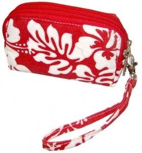Hawaiian Wristlet Canvas 3 Pocket Pouch Floral Print Aloha Red