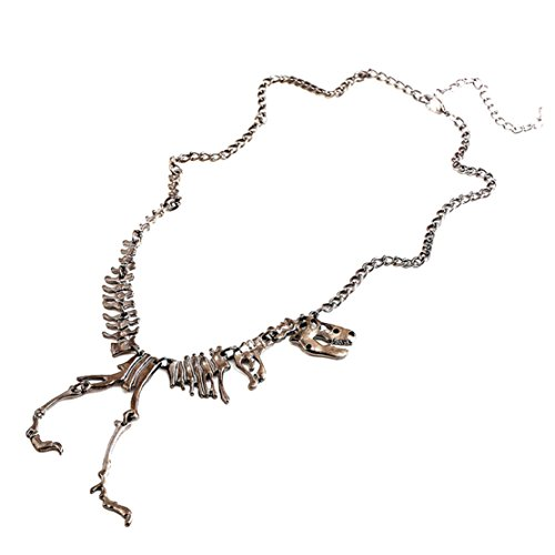 Towallmark(TM) Steampunk Goth Alloy Dinosaur Skeleton Dead Tyrannosaurus T-Rex Charm Necklace (Black)