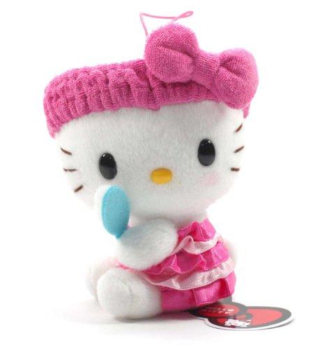 "Eikoh Hello Kitty Fresh Bath Time Plush Strap - 5"" Pink Brush"