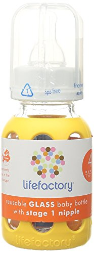Lifefactory 4-Ounce Glass Baby Bottle with Silicone Sleeve and Stage 1 Nipple, Yellow