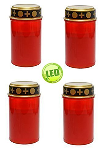 Set of 4 Red LED Memorial candle flicker effect, burner, includes batteries