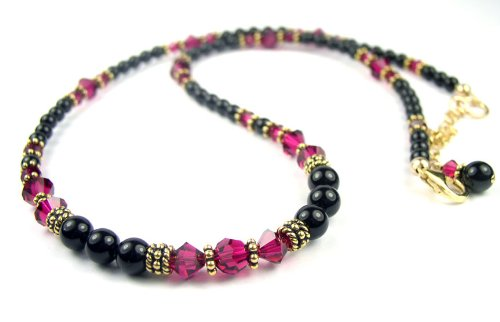 July Ruby Beaded Swarovski Crystal Black Pearl Birthstone Necklace in Sterling Silver - LARGE 20 In.