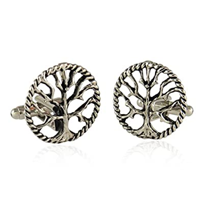 Silver Tree of Life Cufflinks with Gift Box