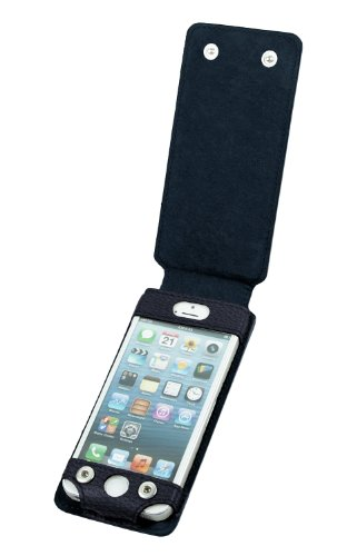 Lucrin - iPhone 5/5s case with flap - Granulated cow - Leather - Navy blue Black Friday & Cyber Monday 2014