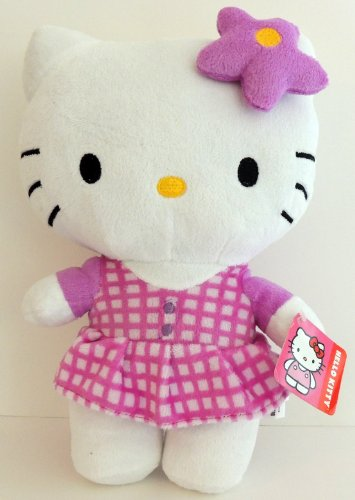 "Hello Kitty Plush 10.5"" Purple Checked Dress by Sanrio"