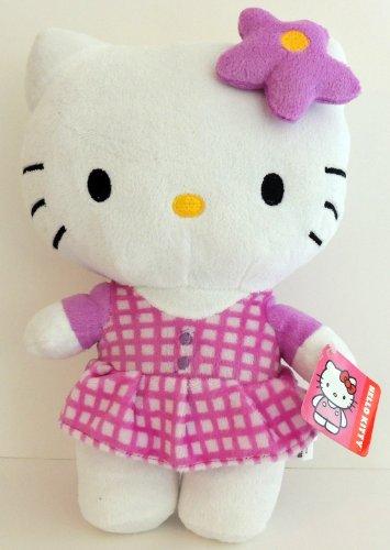 "Hello Kitty Plush 10.5"" Purple Checked Dress by Sanrio - 1"