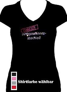 Fun Shirt Junggesellinnenabschied DANGER JGA Strass , T-Shirt, Grösse M, schwarz