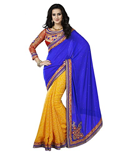 Shubhlaxmi Sarees Silk Saree(D125A_Blue Yellow)