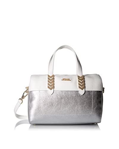 Versace Collection Women's Leather Satchel, Bianco/Oro