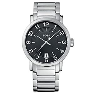 Hugo Boss Men's Stainless Steel Bracelet Watch with Black Dial and Date Display 1512362