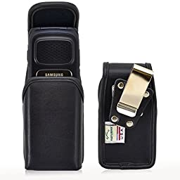 Turtleback Vertical Samsung Rugby 4 Flip Phone Pouch Holster Case, Magnetic Closure (Black Leather / Rotating Clip) - Made in USA